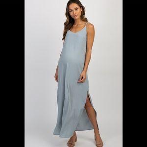 Light Blue Solid Side Slit Maxi Dress